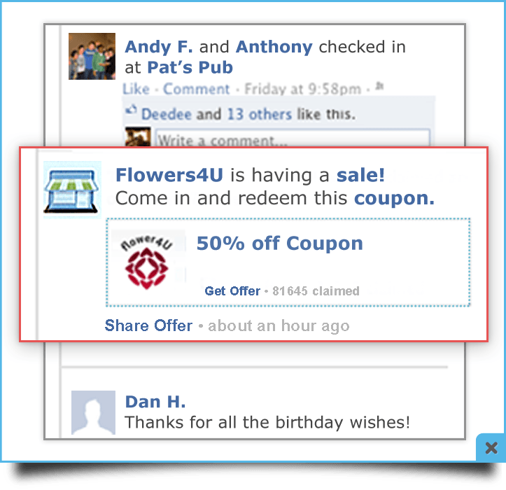 Facebook gating using mobile coupons