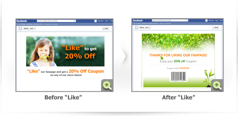 Facebook Gating before and after like