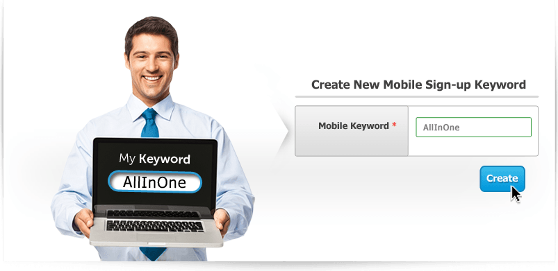 Easily create your new mobile sign-up keyword